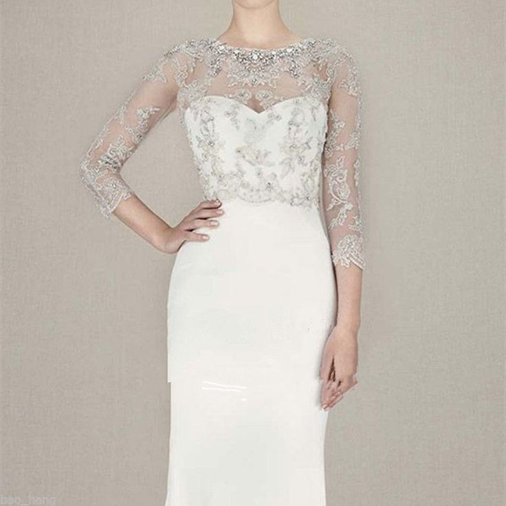 Custom Wedding Crystal Applique Bridal Boleros Wrap 3/4 Long Sleeve Jacket 2016 | eBay