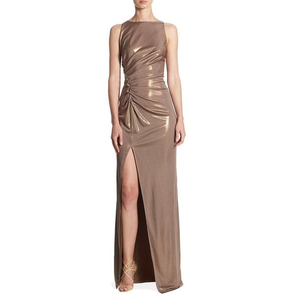Halston Heritage Front Slit Sleeveless Gown ($375) ❤ liked on Polyvore featuring dresses, gowns, brown gown, front slit dress, sleeveless gown, ruched gown and boatneck dress