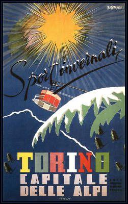 Torino, Italy 1953 Vintage Italian Travel Poster