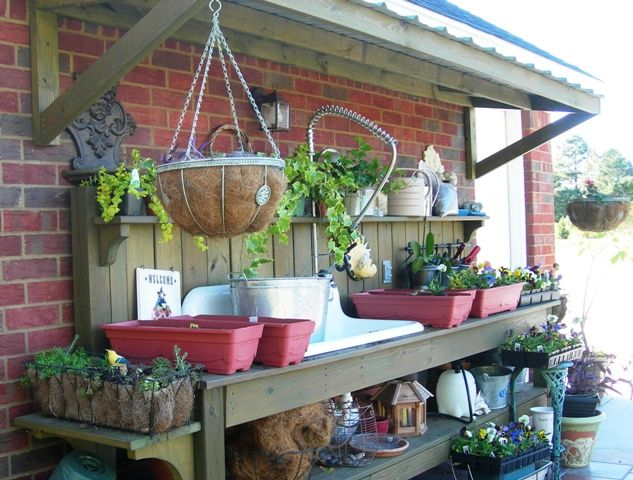 Potting Bench With Sink   There's even a metal roof over the bench to provide some shade for ...