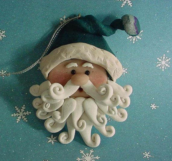 Polymer Clay Old World Santa Claus Christmas Ornament  Green Hat Tassel Curly Beard