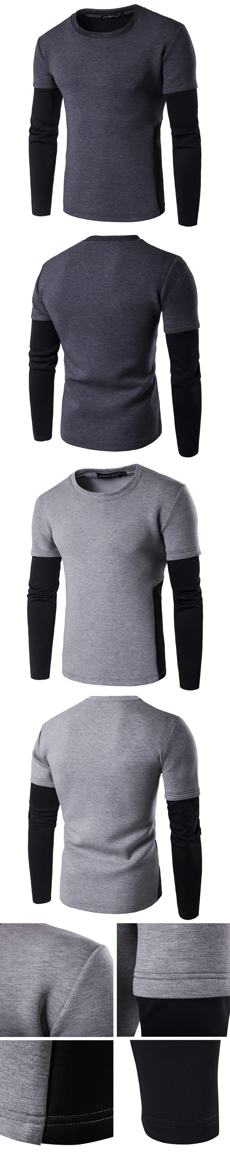 New Men Pullover Sweatshirts Winter Casual Patchwork Contrast Color Tracksuit Street Male False Two Piece grey Sweatshirt Tops