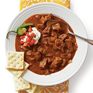 Spice Up Any Weeknight   Spicy Slow-Cooker Beef Chili   SouthernLiving.com: Long Day, Spicy Chilis Recipes, Crock Pots, Slow Cooking Beef, Spicy Slow Cooking, Chili Recipes, Crockpot Recipes, Slow Cooker Beef, Beef Chilis