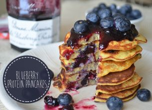 BLUEBERRY VANILLA PROTEIN PANCAKES    - 1 tbsp Protien Powder  - 1 large egg  - 1 medium banana, mashed  - 1/3 cup of fresh blueberries  - ¼ teaspoon baking powder  - 2 tablespoons oat flour  - ½ teaspoon vanilla extract  -1/2 teaspoon chia seeds  -splash of coconut milk