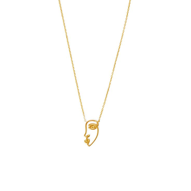 Necklace featuring a face pendant evolved from a single line drawing in 14k solid yellow gold. Nickel free. Free next-day shipping on all orders over $500 AUD.