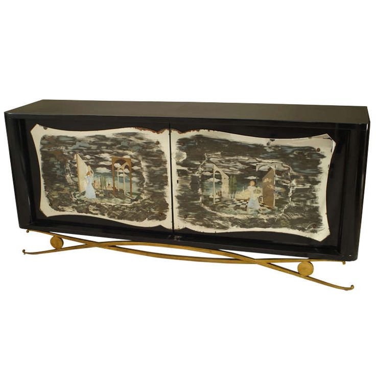 LOVe this - Art Deco Drouet Lacquered Sideboard with Eckmann Decorated Mirror - throw this into an ultra modern room as an amazing centerpiece..to die for