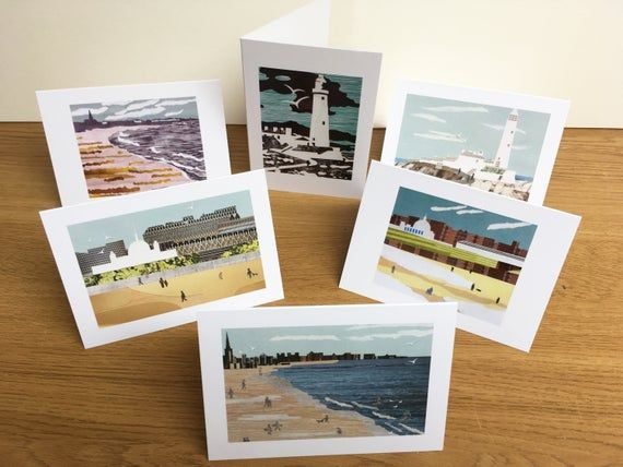 Greetings Cards Set Of 6 Of Collages Of Tynemouth And Whitley