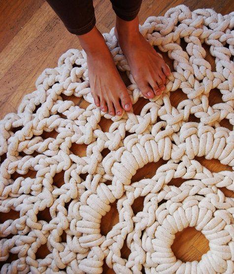 Giant crocheted rug.