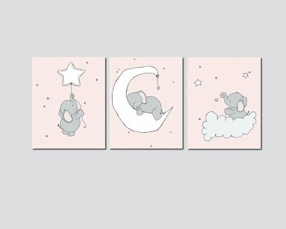 Pink and Gray Nursery, Elephant Nursery Art Prints, Nursery Decor, Elephants Moon and Stars Art, Set Of 3  Print, Kids Wall Art