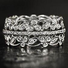 VINTAGE 1.25CT DIAMONDS FLORALWIDE 14K ART DECO BAND COCKTAIL RING RETRO ESTATE