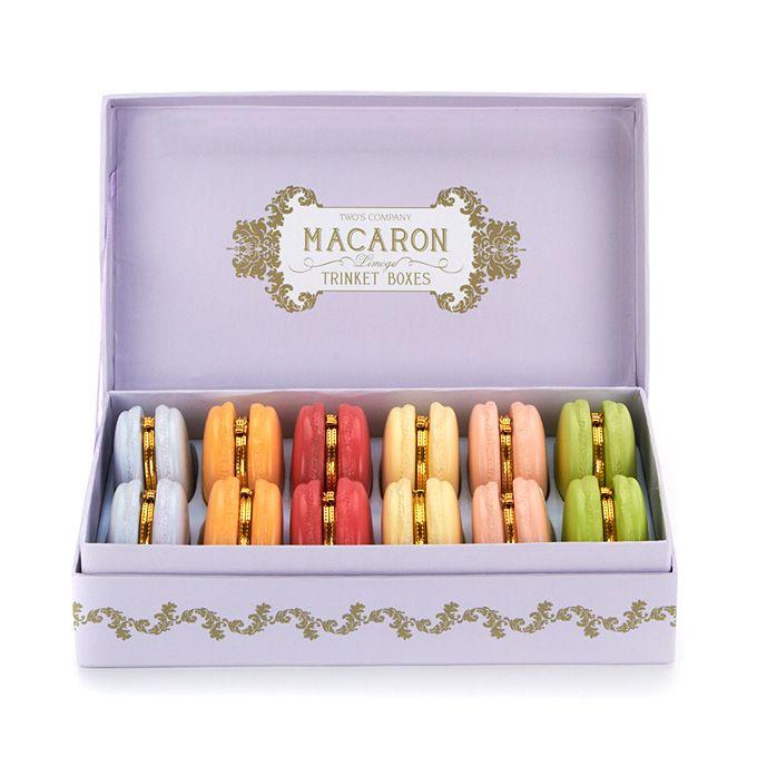 "Brides: Macaron Trinket Boxes Bridesmaid Gift. ""Limoges Macaron"" boxes, $10 each, Two's Company"