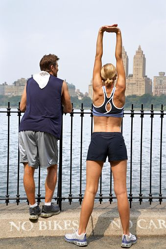 Couple Stretching in Central Park