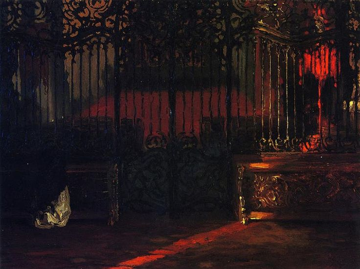 Adolf von Menzel (1815-1905), Intérieur d'église avec une Femme en Prière - 1852 Живопись маслом