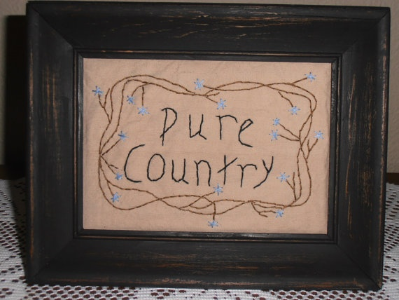 Pure Country Framed Primitive Stitchery By