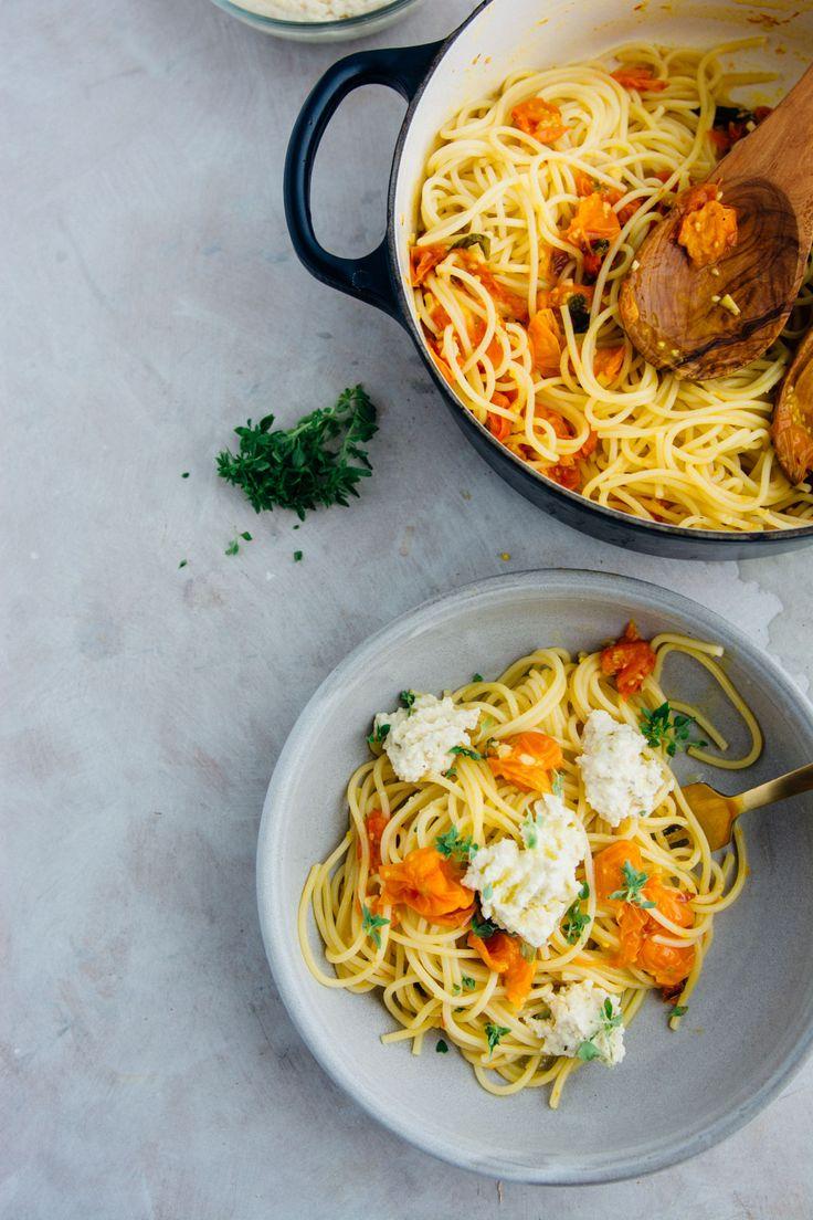 Roasted Sungold tomato pasta with almond ricotta (vegan) | www.scalingbackblog.com