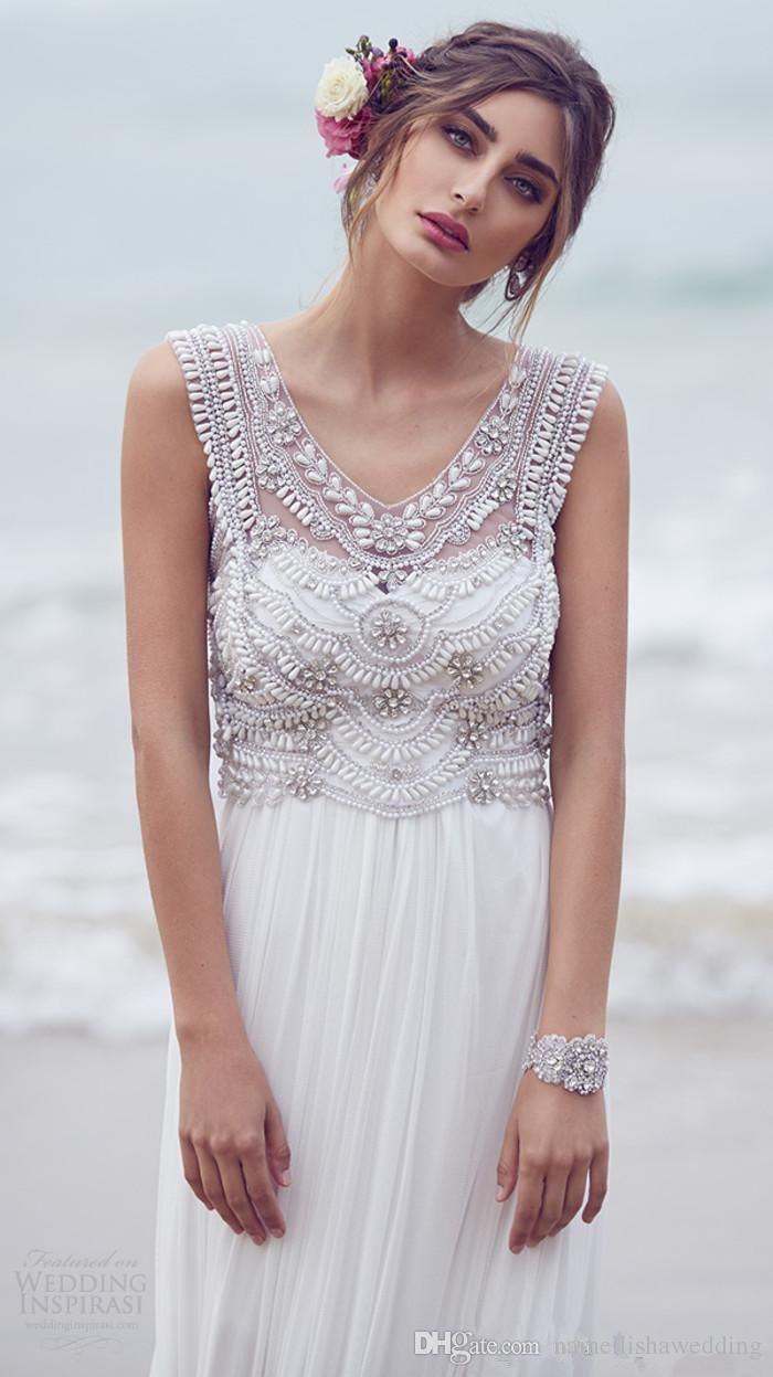 Anna Campbell Bohemian Wedding Dresses Designer 2016 Modest V Neck Crystals Bead…