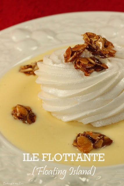 """This gorgeous, light dessert is French and called """"I'lle Flottante"""" literally translated to """"Floating Island""""   which consists of Crème Anglaise, meringue and almond pralines   Full recipe here: http://bakingismyzen.blogspot.com/2011/09/ile-flottante-floating-island-french.html"""