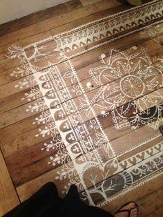 Stenciled floor mat