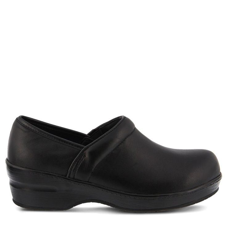 Spring Step Women's Selle Wide Slip Resistant Clog Shoes (Black Leather) - 8.5 W