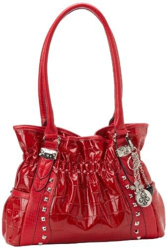 KATHY Van Zeeland Croco Rock Shoulder Bag,Scarlet,One Size