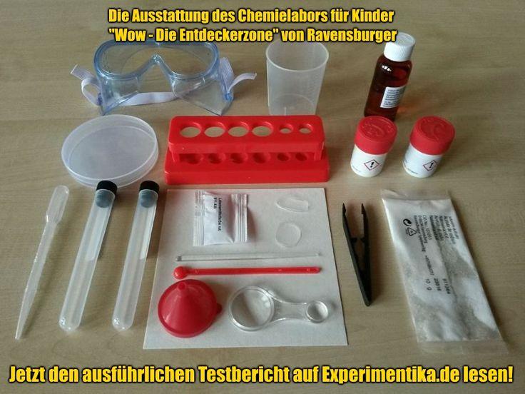"""Die Ausstattung des Experimentierkasten für chemische Reaktionen """"Wow - Die Entdeckerzone"""" von Ravensburger. #spielzeug #experimentierkasten"""