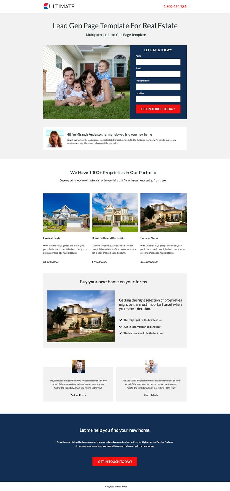 This is a classic lead gen template for real estate. List your properties and have prospects contact you via form field. The leads this page can generate are impressive.  #realestate #landingpages #landingpagetemplates #templates