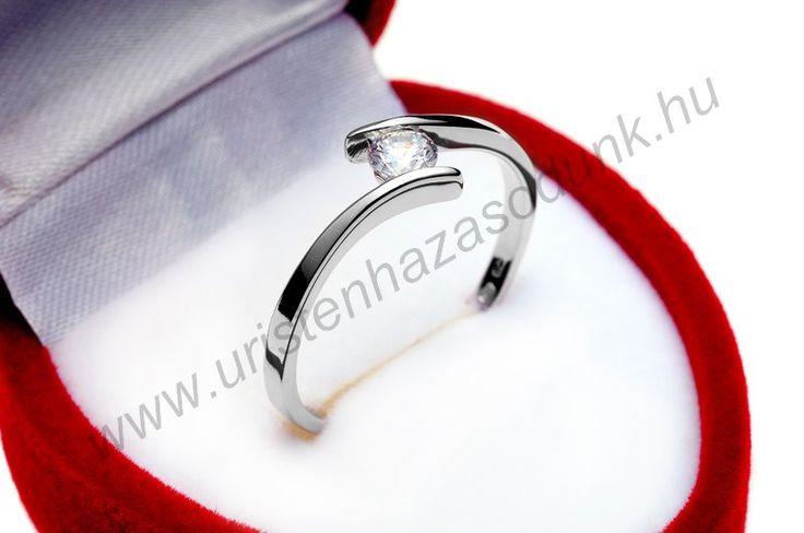 E3FC - 34.950 Ft 14 karátos fehér arany cirkónia köves Eljegyzési Gyűrű 48-60-as méretig azonnal raktárról www.uristenhazasodunk.hu