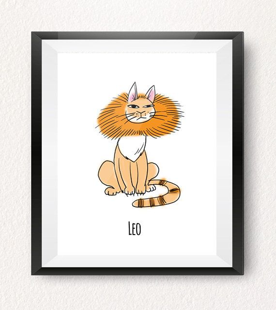 LEO ASTROLOGY ART PRINT (July 23 – August 22)  This Leo horoscope art print is part of our one-of-a-kind Cat-strology collection! All of our cat art prints make fun wall decorations for your home, office or a kids room! Treat yourself or give them as a gift to someone special born under this horoscope sign!
