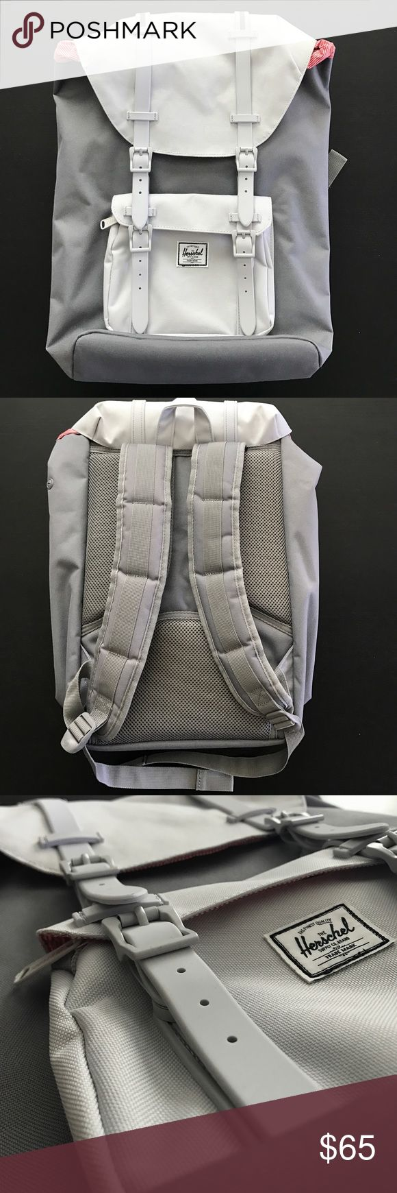 """Herschel Supply Co. Little America Grey Backpack Like NEW Herschel Supply Co. Backpack.    Grey/Lunar Colorway.   Able to fit a 15"""" laptop.  Straps are rubber and not leather  No rips or tears on material. Inside of bag is clean.   Take a look at pics for condition of item. Feel free to ask any questions. Herschel Supply Company Bags Backpacks"""