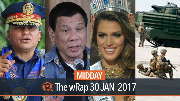 Miss Universe, war on drugs, Duterte on EDCA | Midday wRap - WATCH VIDEO HERE -> http://philippinesonline.info/entertainment/miss-universe-war-on-drugs-duterte-on-edca-midday-wrap/   Today on Rappler: – Miss France Iris Mittenaere is Miss Universe 2016 – Dela Rosa orders police to stop war on drugs – Duterte rejects Dela Rosa resignation – Duterte threatens to 'abrograte' U.S. treaties again Full video:  Follow Rappler on Social...
