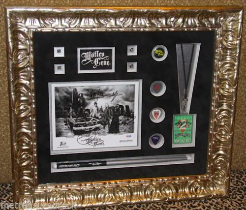 MOTLEY CRUE signed autographed 8x10 photo pass guitar pick DRUMSTICK PSA DNA COA