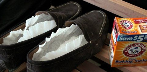 Baking soda in coffee filters in your shoes to help with the smell.