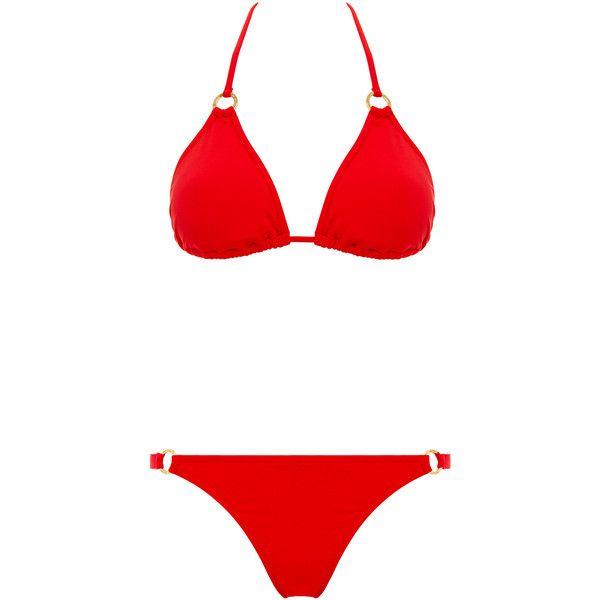 Melissa Odabash St Barts Triangle Bikini (€92) ❤ liked on Polyvore featuring swimwear, bikinis, bikini, bathing suits, swim suits, red, red bathing suit, red triangle bikini, triangle bikini and red bikini top
