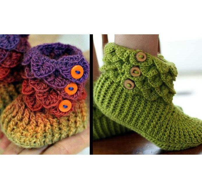 Free Crochet Patterns Using The Crocodile Stitch : Free Crocodile Stitch Slippers Pattern Crocodile Stitch ...