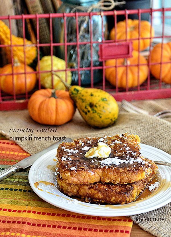 Bacon Friend Crunchy Coated Pumpkin French Toast recipe at TidyMom.net