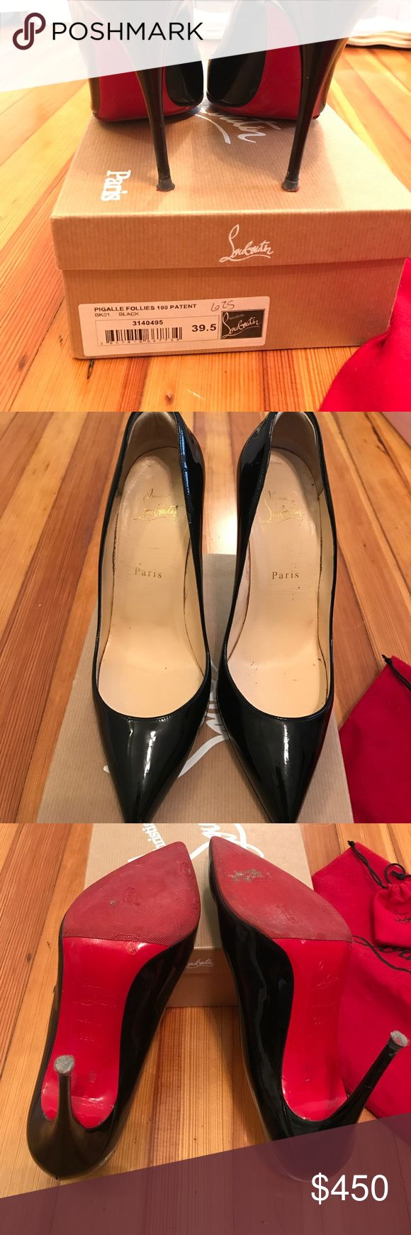 Christian Louboutin Pigalle RE-Posh - just bought these from another posher and sadly they don't fit. 9.5 (I'm normally an 8.5/9) but never had this shoe so wasn't sure about sizing. Previous owner put on sole protector and heel inserts which previous seller said can be removed. Normal wear on bottoms, box dust bag and extra heel tips included. Really wish these fit me 😢 (listed at what I paid with what posh takes) Christian Louboutin Shoes Heels