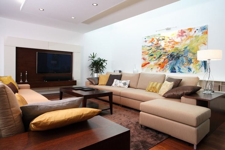 living room with colorful painting