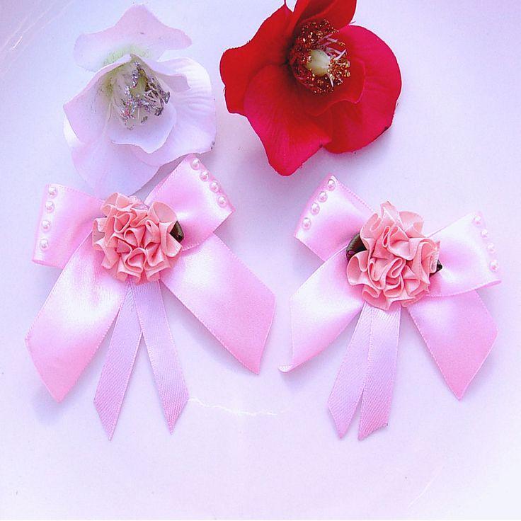 Noeuds en ruban satin rose fleur perles (2p)