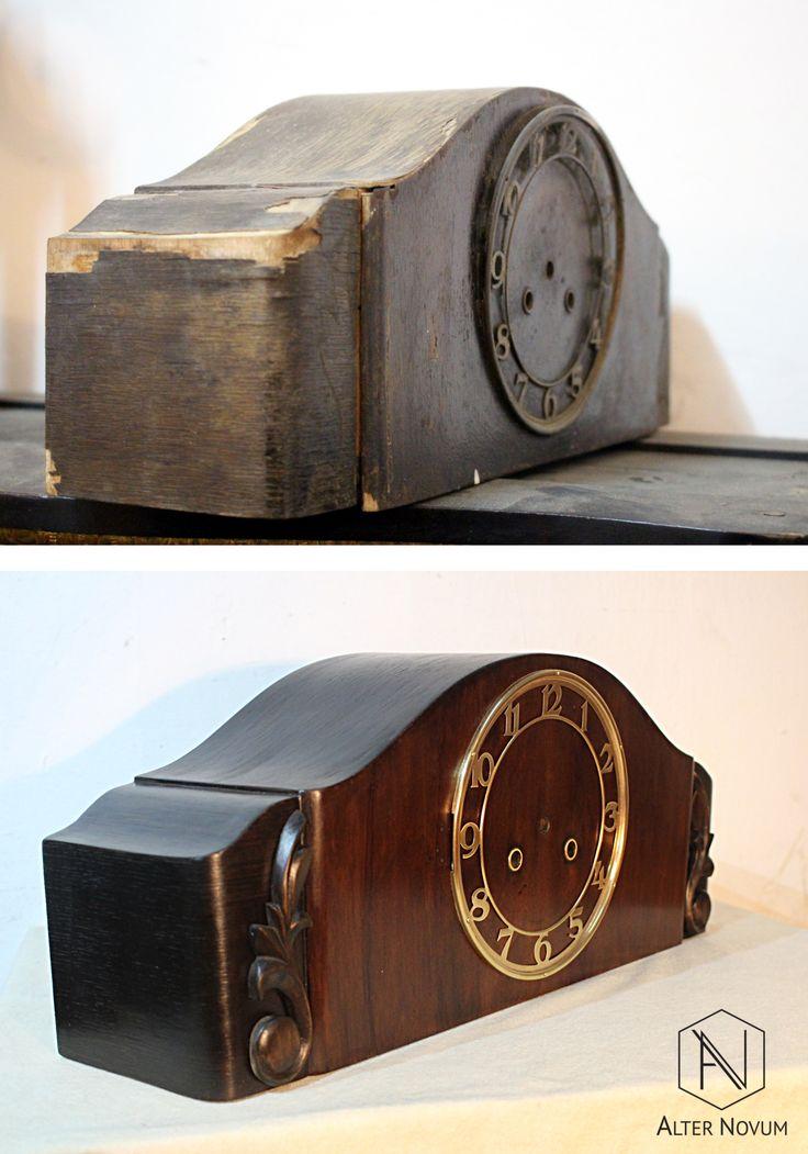 Zegar kominkowy przed i po renowacji w pracowni Alter Novum w Krakowie /// Old clock after restoration by https://alternovum.com/