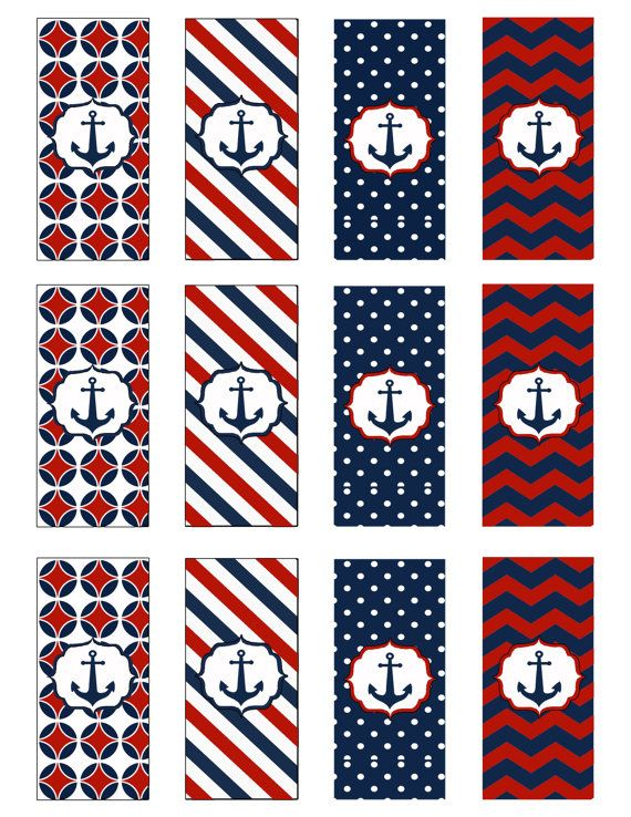 Instant Download Nautical Candy Wrappers! JPEG 300 dpi Printable DIY! Anchors Navy Sailor Nautical Birthday, Navy Blue and Red on Etsy, $4.00