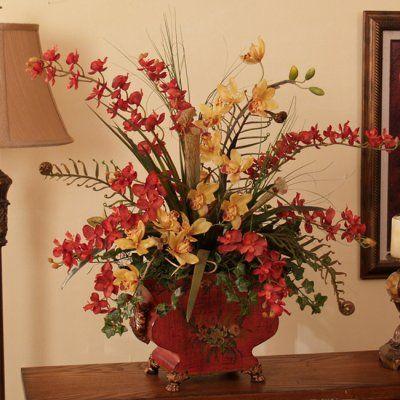 Asian look silk flower arrangements