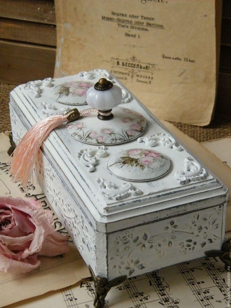 Купить Свадебная шкатулка Шебби Розы. Декупаж. - белый, розовый, шкатулка, шкатулка декупаж