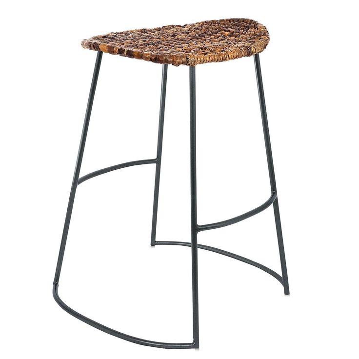 birdrock home industrial seagrass bar stools set of 2 metal frame hand woven seat birdrock home industrial seagrass barstool brown - Seagrass Bar Stools