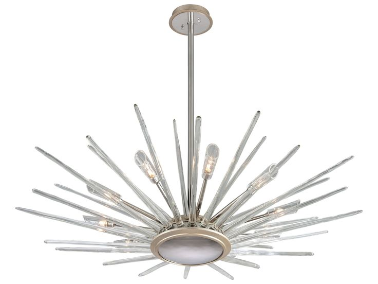 Corbett Lighting Chill Silver Leaf With Polished Stainless Accents 60 Wide Pendant Light