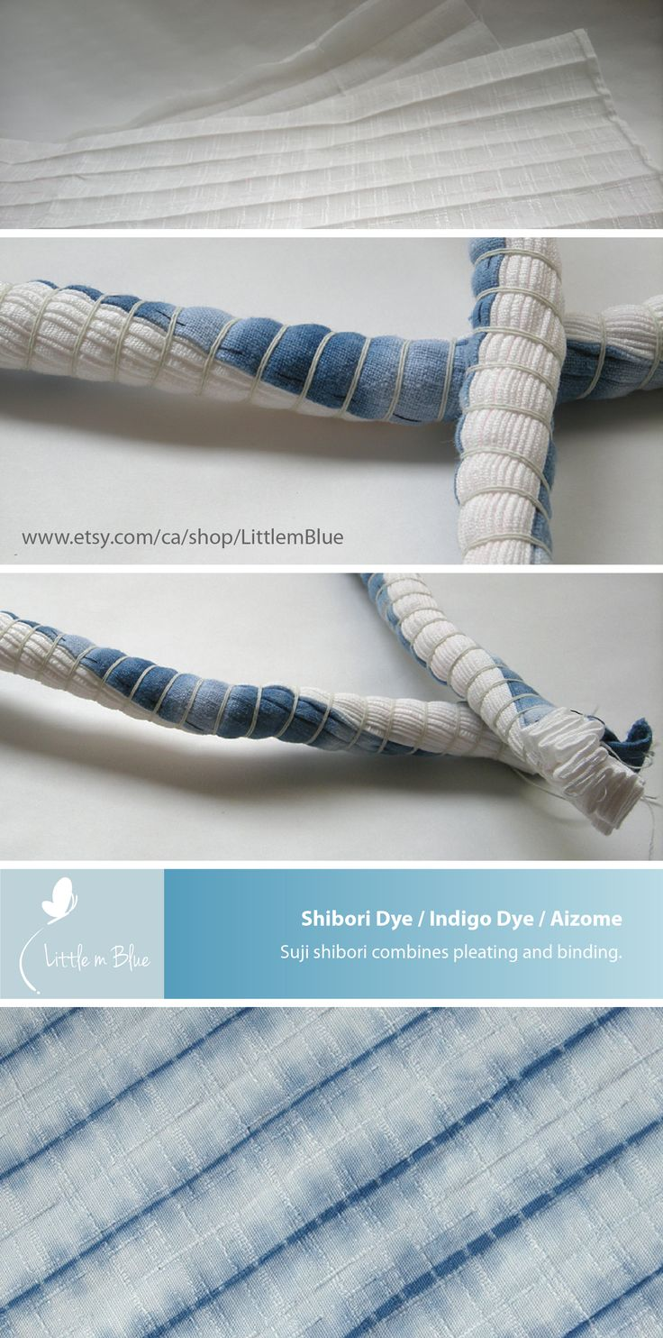 Indigo shibori dye - Suji shibori combines pleating and binding. (Little m Blue)