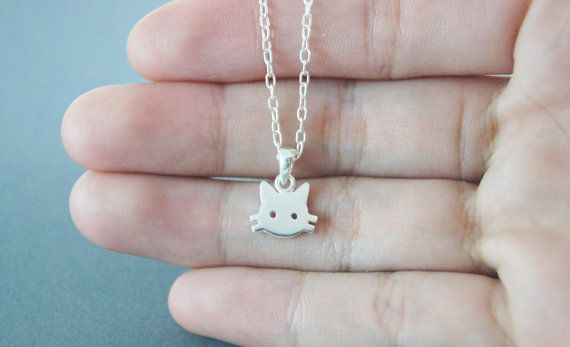 Tiny Cat Necklace Cat silver Handmade in sterling by nwutthi, $35.00