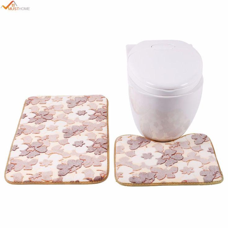 best price 2pcs 40505080cm bathroom mats set coral fleece floor bath mat memory foam rug kit toilet #modern #carpet