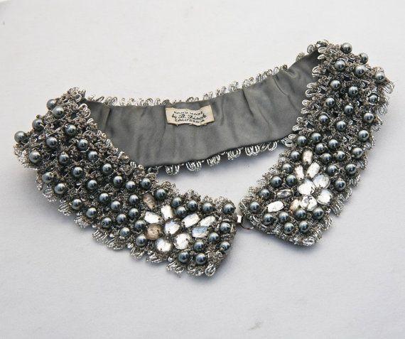 fabric/collar, beads & hook/eye. #diy