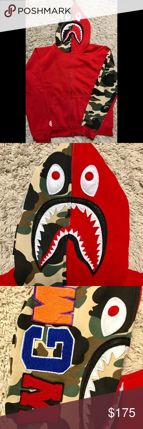 Accepting offers Bape ( A Bathing Ape) Camo Hoodie Altogether 9 sold till now !! I've sold 4 in total with 5 star rating in each transaction as you can see on my profile. Three sold in 2 minutes.  This is for all my brothers who can't spend 600$ for a damn hoodie. This is for the all the brothers to flex like a real G they deserve to be. Price is almost firm. Send me REASONABLE OFFERS tho. NO TRADE! Bape Jackets & Coats Lightweight & Shirt Jackets