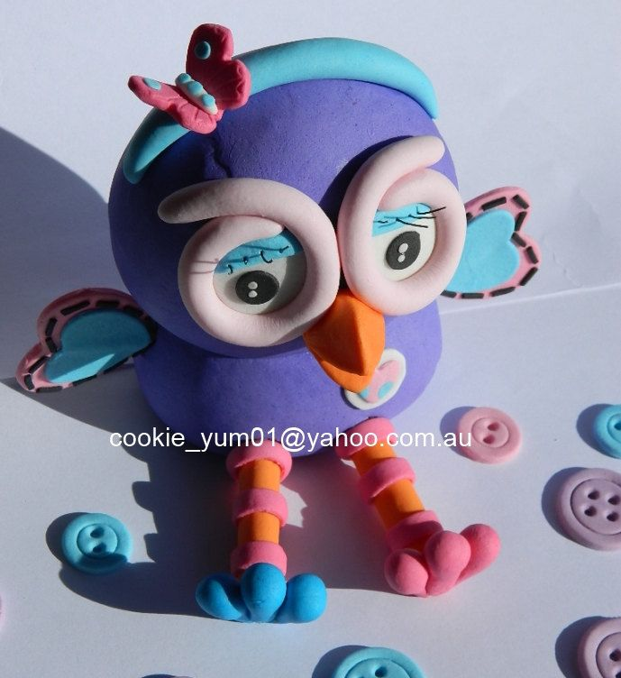 1 edible 3D HOOTABELLE from GIGGLE & HOOT owl cake decoration topper gumpaste sugarcraft birthday wedding anniversary kids character by cookiecookieyumyum on Etsy